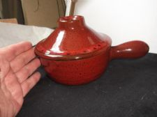 RICH FLAME GLAZED SPECKLED INDIVIDUAL PAN & TAGINE STYLE LID HEAVY STONEWARE